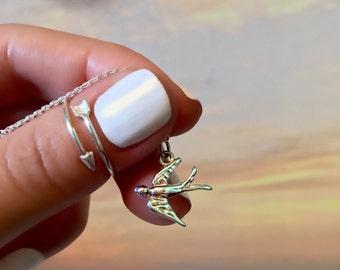 Sparrow Necklace - Soar Bird Necklace - Sterling Silver Sparrow Necklace - Dainty Sparrow Pendant -  Inspirational Necklace