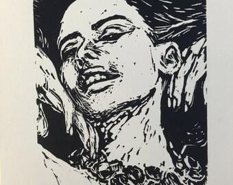 Repulsive - linocut print