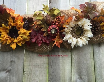 Fall Garland, Fall Decorations, Fall Decor, Fall Swag, Fall mailbox swag, Fall Centerpiece, Thanksgiving Garland, Autumn Garland