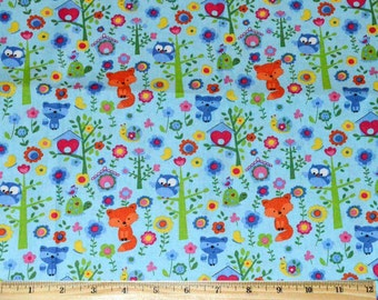 Sale! FOREST FABRIC / 1/2 Yard For Quilting / Fox - Racoon - Owl - Birds / Pastel Blue - Green