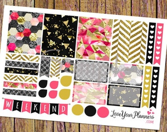 JADE Sassy Hot Pink Black Gold Glitter Planner Stickers Weekly Planner Stickers Vertical Planner Stickers Functional Stickers Decorative 125