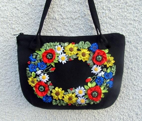 Ribbon embroidery bags makaroka