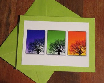 Three Trees.   Photo Greeting/Note Card.  Blank Inside.