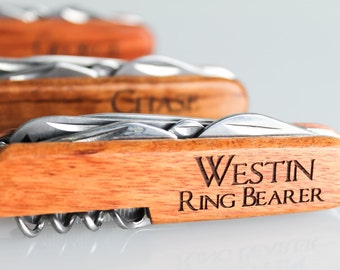 Ring Bearer Gift Engraved Pocket Knives Personalized Knife Groomsmen Wedding