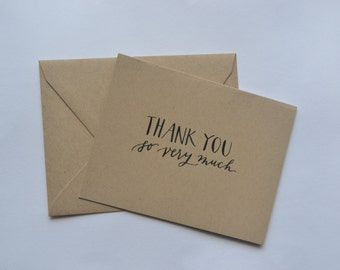 thank you note card set: kraft brown paper with black sumi ink