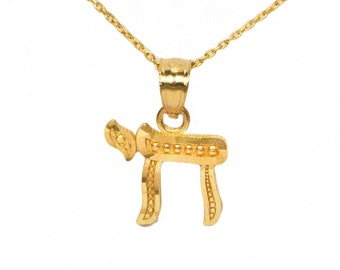 14k Yellow Gold Chai Necklace