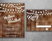 Country Wedding Invitations Set Printed, Rustic Wedding Invitation, Burlap, Kraft, Wood, Lights, Outside, Southern Wedding Invitations, Barn