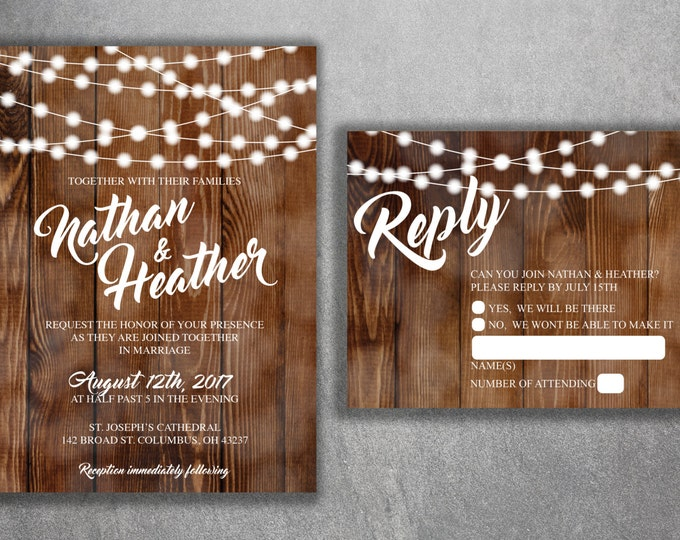 Wedding Invitation Set Printed, Cheap Wedding Invitation, Burlap, Kraft, Wood, Lights, Outside, Southern, Rustic, Barn, Affordable, Country