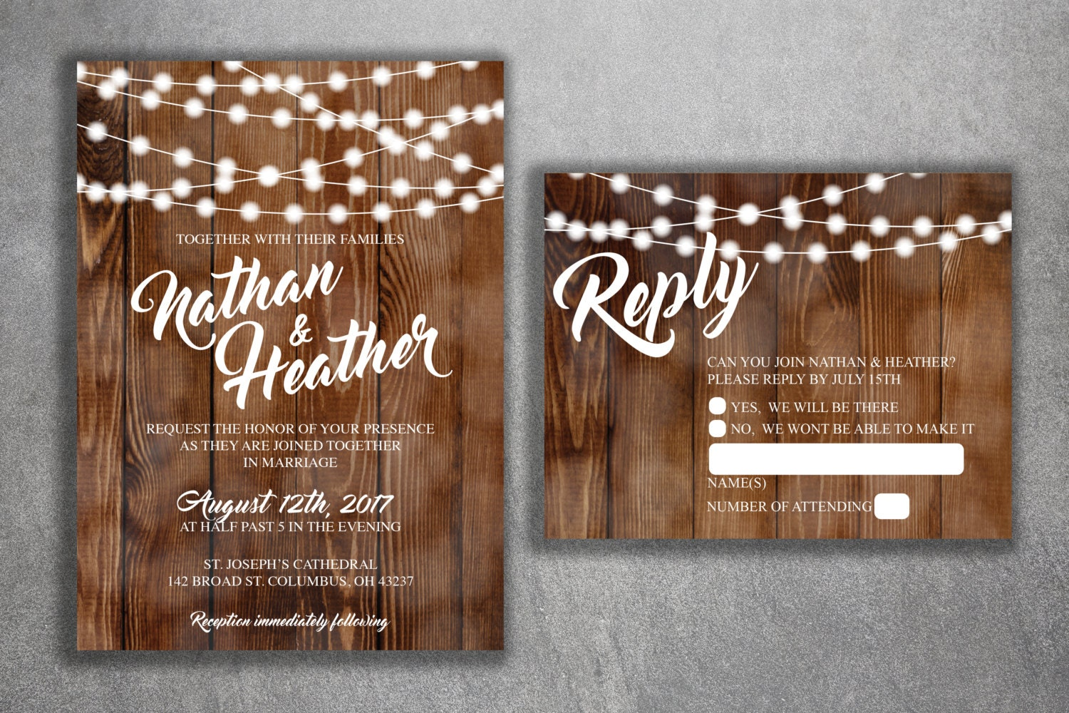 Rustic Photo Wedding Invitations: Country Wedding Invitations Set Printed Rustic Wedding