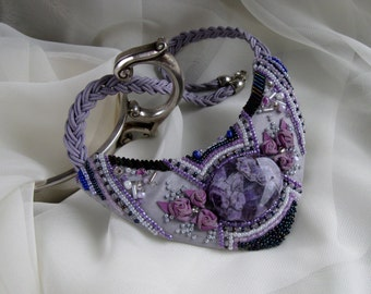 Handmade Bead Embroidered Necklace With Amethyst
