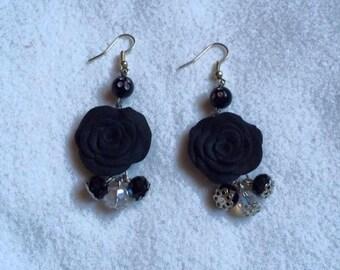 black rose earring, orecchini rose nere
