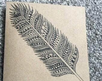 Mandala Feather Hand Drawn Card