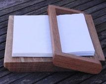 Serviette/napkin holder.  200 x 200 mm square.  Holds full pack of 20 napkins.  THE MARSTON MAGNA