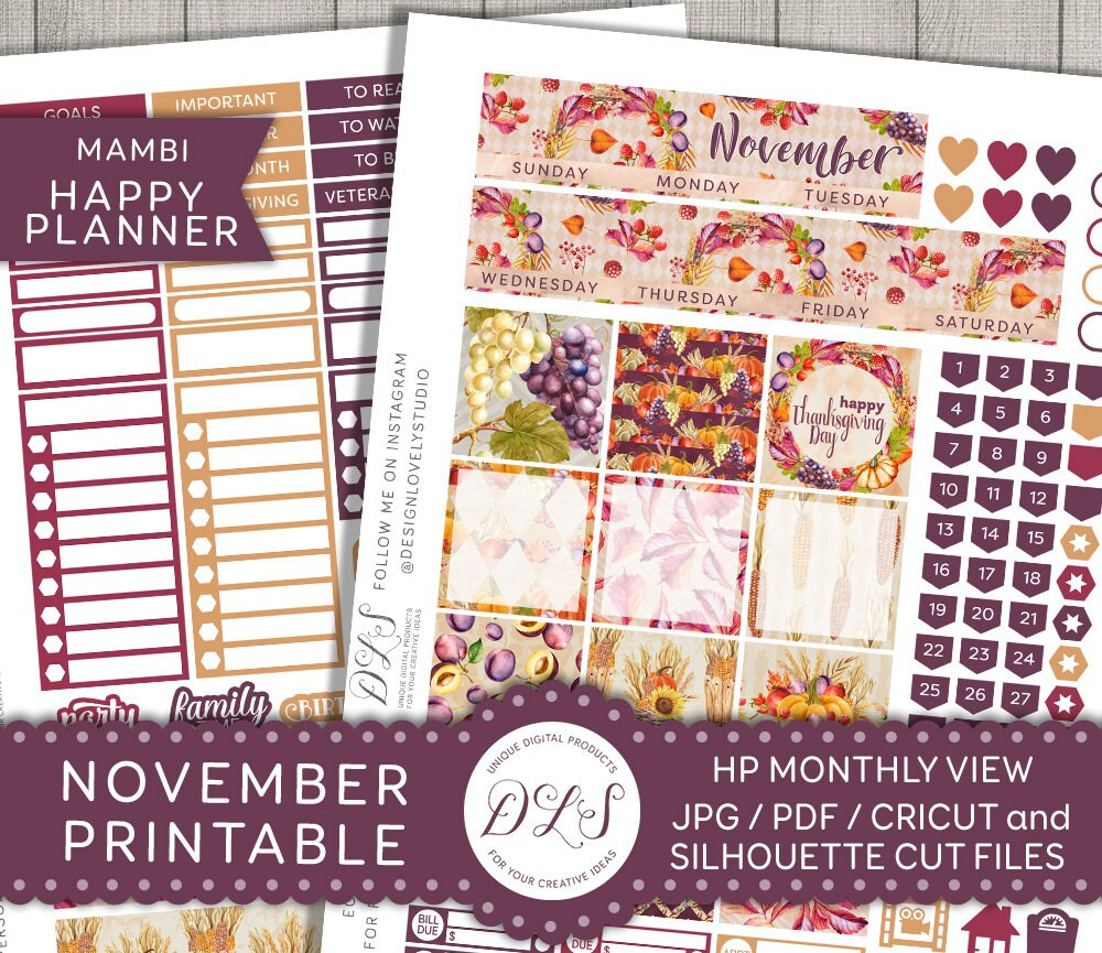 Happy With Printables Calendar November : November mambi printable monthly kit happy planner