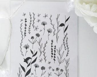Black and White Botanical Art Print 02