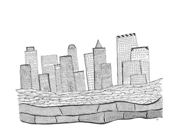Coloring Page Adult Coloring Cityscape City Skyline City
