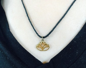 Handmade Gold Lotus Charm Necklace