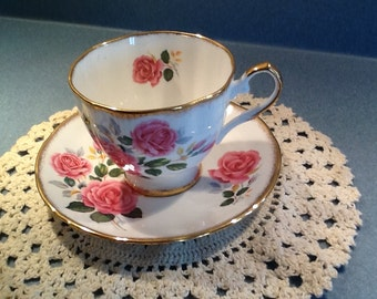 Elizabethan NEW Vintage Tea Cup and Saucer with Double Pink Rose #34125