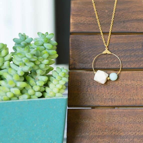 Essential Oil Diffuser Necklace with choice of Essential Oil Blend // Wood & Round Amazonite on Hoop Pendant