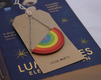 Rainbow Pendant Necklace - Recycled Ply and Paper