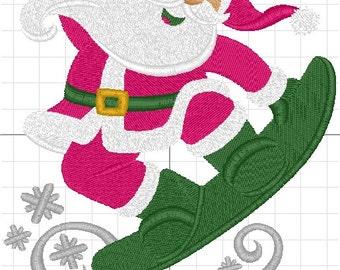 Santa skateboards machine embroidery