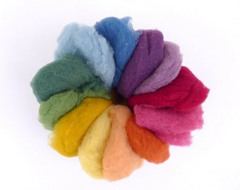 Organic merino wool for felting, dyed with plants