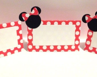 10 Minnie Mouse Place Cards - Minnie Mouse Party Decorations - Minnie Mouse Birthday Party - Minnie Mouse Baby Shower - Minnie Mouse Decor