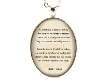 JRR Tolkien Poem Necklace, Not all those who wander are lost, Poetry Jewelry