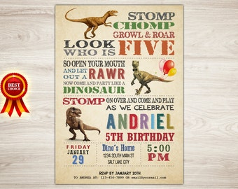Dinosaur 5th Birthday Invitation, Dinosaur Invitation, Dinosaur Printable Invitation, Dinosaur Invite, Boy Dinosaur Party, Printable Invie
