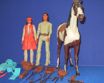 Marx Johnny West collection Princess Wildflower, Geronimo and their horse, Storm Cloud