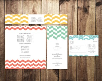 DIY Customisable Wedding Stationery Set - Invites, RSVP, Info Card & Belly Band - Geometric Print - Colourful