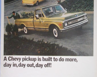 1969 Chevrolet Pickup ad.  Chevy Truck ad.  Chevy Fleetside Pickup.  Vintage Chevy Pickup ad.  Look Magazine.  April 1, 1969.