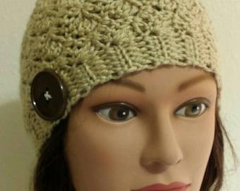 Woman's Cream Crochet Ripple Hat