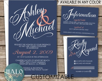 Classic Wedding Invitations - Invitation, RSVP postcard, Info card, Printable