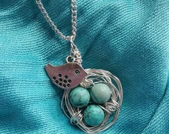 Birds Nest Necklace-Birds Nest Charm-Turquoise Birds Nest-Mothers Necklace