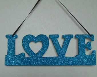 Love Blue Glittery Decorative Hanging Sign