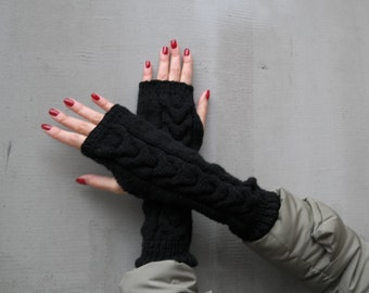 SALE! Armwarmers, Black armwarmers, Black women gloves, Fingerless gloves, Wool armwarmers, Wool gloves, Gloves, Black fingerless gloves