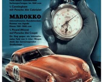 Vintage 1952 Porsche Motor Racing Poster Print