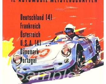 Vintage 1956 Porsche Rally Poster Print