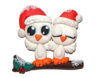 Handmade Christmas Holiday Owls Miniature Birds on Branch Polymer Clay Pendant/Magnet/Bead/Figure