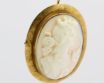 Antique Cameo Pin Pendant, 14k Gold Cameo Brooch
