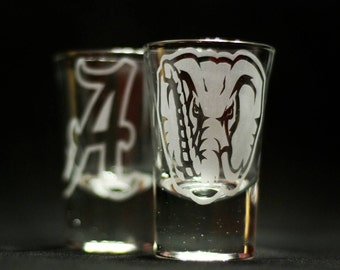 University of Alabama shot glasses 2pc
