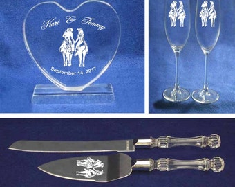 Cowgirl Cowboy Montana Western Wedding cake topper glasses & knife personalized