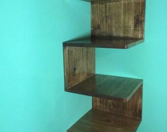 Zig-Zag Corner Shelf, Custommade shelves, Handmade Corner Shelf Unit, Shelf Unit, Christmas gift , Gift, Solid Wood Shelving Unit,Wall She