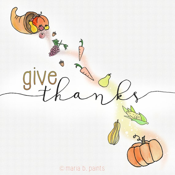 Watercolor Clip Art Thanksgiving Personal Use Dinner