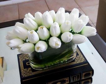 Silk Floral-Faux Floral Arrangement-Flower Arrangement-Silk Tulips-White Tulips-Silk faux arrangement -Fake flowers
