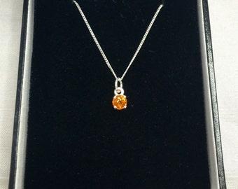 NATURAL 0.45ct Orange Spessartine Garnet Sterling Silver Pendant Necklace 925
