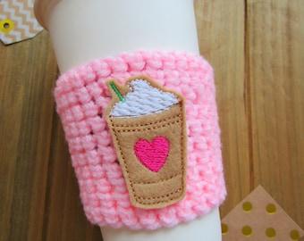 Starbucks Crochet Coffee Cozy!  Preppy Frappucino Heart Coffee Sleeve, Birthday Gifts Cosy Starbucks Heart Cup Frap Cup