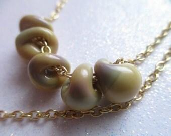 Glass Drop Necklace * Boro Glass Drop Necklace *   Spring Splendor Glass Drops *  El Creme' Necklace * Contemporary Modern Jewelry