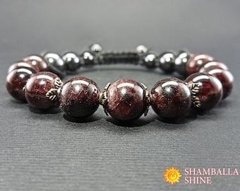 Garnet bracelet Love energy bracelet Beaded bracelet Balance bracelet Boho Chic Yoga Bracelet Gemstone bracelet Garnet Jewelry Shamballa